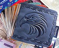 Зажим для денег с карманом Орел кожа. Цвет синий, фото 1