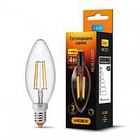 LED лампа VIDEX Filament C37FD 4W E14 4100K 220V с диммером