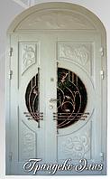 """Двери входные со стеклопакетом и ковкой """"ГРАНДЕКС-ЭЛИЗ"""""""