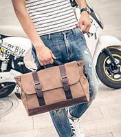 Стильный мужской тканевый портфель-сумка с ручкой. Коричневый