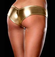 Блестящие виниловые трусики для Pole dance, золотые, фото 1