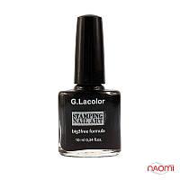 Лак для ногтей для стемпинга 10 мл G. Lacolor 001 черный