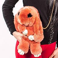 Рюкзак Заяц из натурального меха морковный