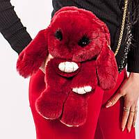 Рюкзак Заяц из натурального меха темно-красный