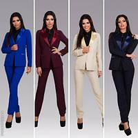 Модный женский костюм пиджак с атласом + брюки / Украина / габардин