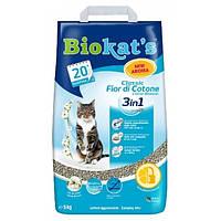 Biokats Classic Fior de Cotton 3in1 комкующийся наполнитель для кошачьего туалета с нежным ароматом хлопка, 5кг
