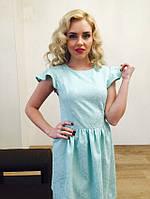Женское весеннее платье с коротким рукавом до колен