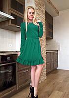 Женское молодежное платье с длинным рукавом и рюшами