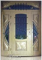 """Двери входные со стеклопакетом и ковкой полуторные """"НЕПАЛ"""""""