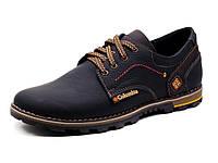 Кожаные мужские туфли Columbia 01, черные ,качество