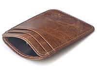 Картхолдер вертикальный на 5 карт кожаный, коричневый
