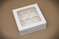 Коробка для 9 капкейков с окошком, самосборная и со вставкой 250х250х100 мм. , фото 1