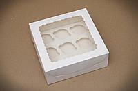 Коробка для 9 капкейков с окошком, самосборная и со вставкой 250х250х100 мм.