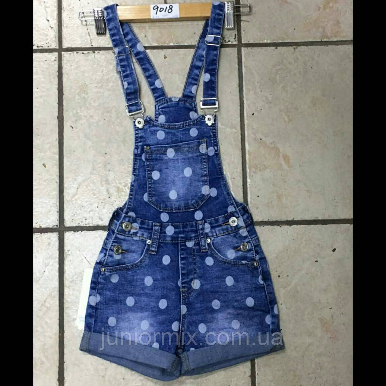 Детские джинсовые шорты комбинезоны в горошек на девочку  Dream Girl