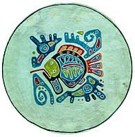 Декоративная тарелка диаметром 42 см «Рыбный день» штучная  шамотной трипольской глины станет изысканным