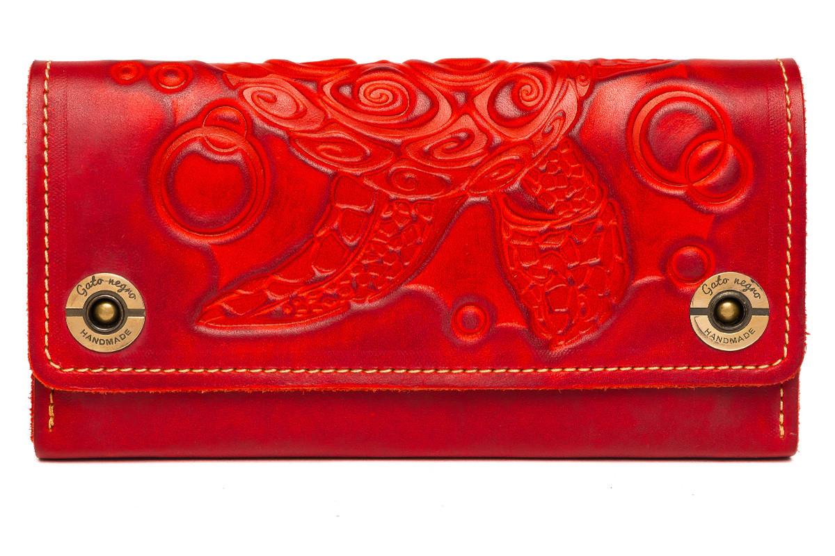 Кожаный женский кошелек-клатч  красный, Черепаха