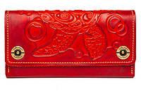 Кожаный женский кошелек-клатч  красный, Черепаха, фото 1