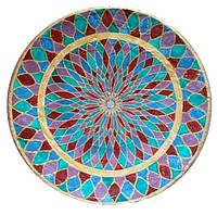 Декоративная тарелка диаметром 42 см «Восточный калейдоскоп»  шамотной трипольской глины станет изысканным