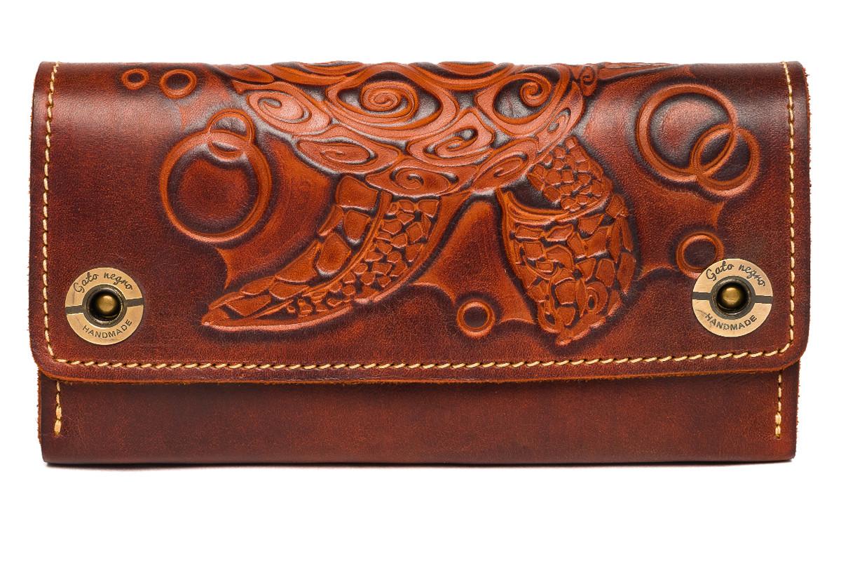 Кожаный женский кошелек-клатч  коричневый, Черепаха