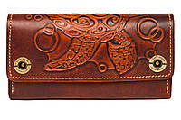 Кожаный женский кошелек-клатч  коричневый, Черепаха, фото 1