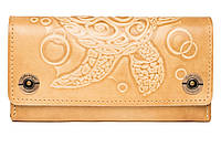Кожаный женский кошелек-клатч  бежевый, Черепаха, фото 1