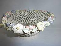 """Ваза-конфетница """"Цветы"""" с лепкой треугольная, фото 1"""