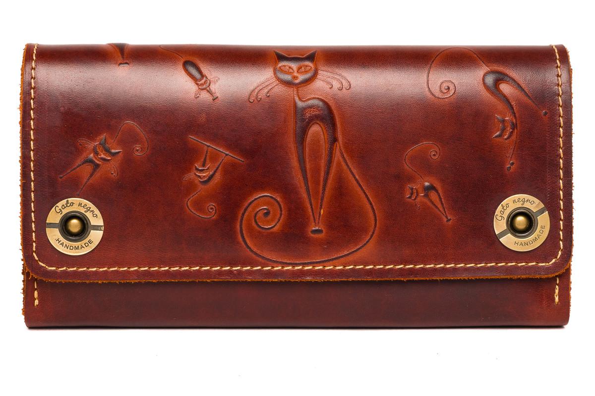 Кожаный женский кошелек-клатч  коричневый, Кошки