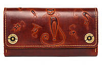 Кожаный женский кошелек-клатч  коричневый, Кошки, фото 1