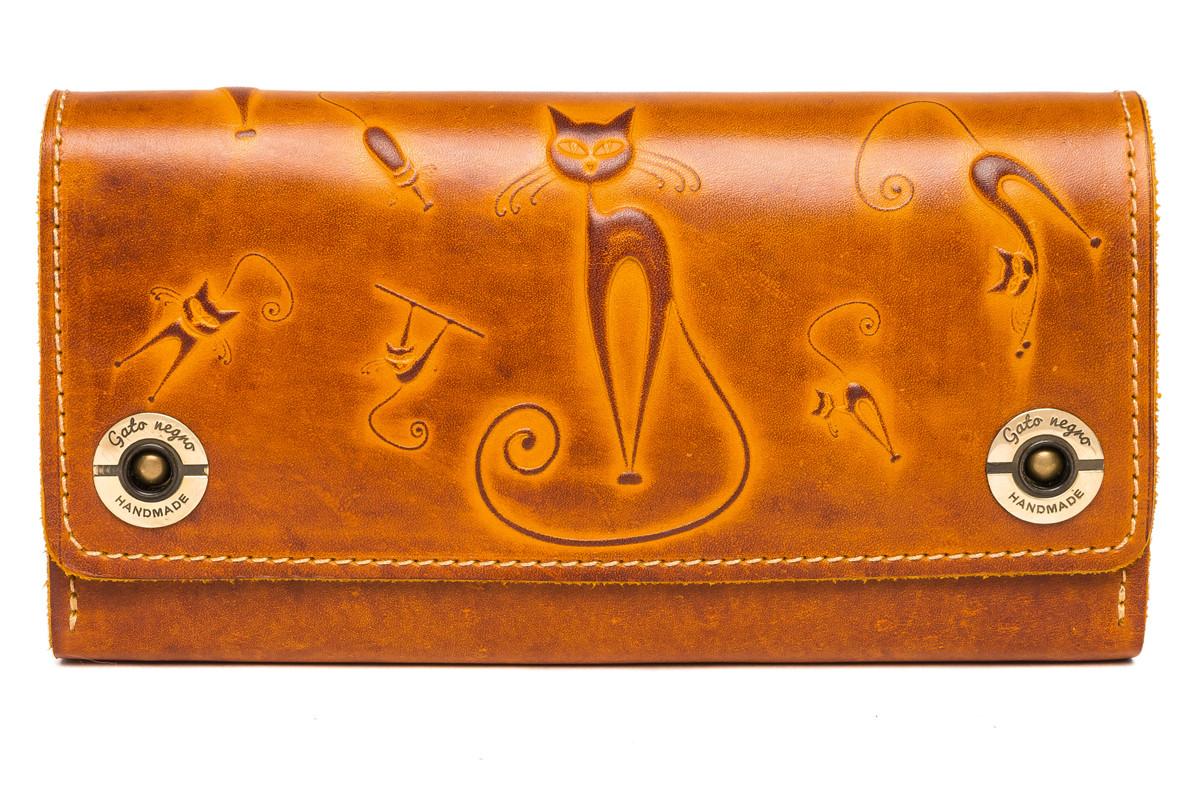 Кожаный женский кошелек-клатч  оранжевый, Кошки