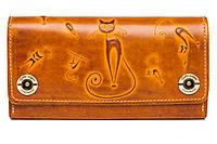 Кожаный женский кошелек-клатч  оранжевый, Кошки, фото 1