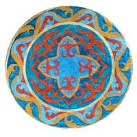 Декоративная тарелка диаметром 42 см «Тюркский вечер»  шамотной трипольской глины станет изысканным