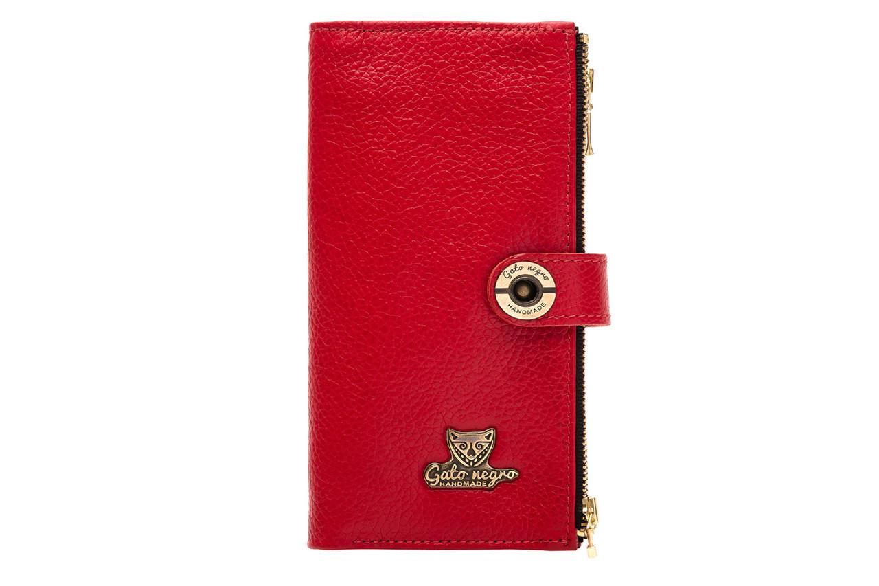 Вместительный кожаный женский кошелек