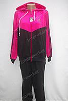 Женский спортивный костюм  Adidas  большого размера(батал) черно-розовый