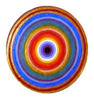 """Декоративная тарелка диаметром 42 см """"Спектр рассвета"""" из шамотной трипольской глины станет изысканным"""