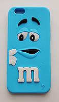 Чехол на Айфон 6/6s M&Ms приятный Силикон Голубой, фото 1