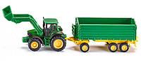 Трактор John Deere с фронтальным погрузчиком и прицепом, 1:87, Siku