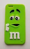 Чехол на Айфон 6/6s M&Ms приятный Силикон Зеленый