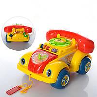 Каталка Машинка-телефон счеты + звук  705Р на веревочке