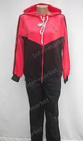 Женский спортивный костюм  Adidas  большого размера(батал) черно-красный