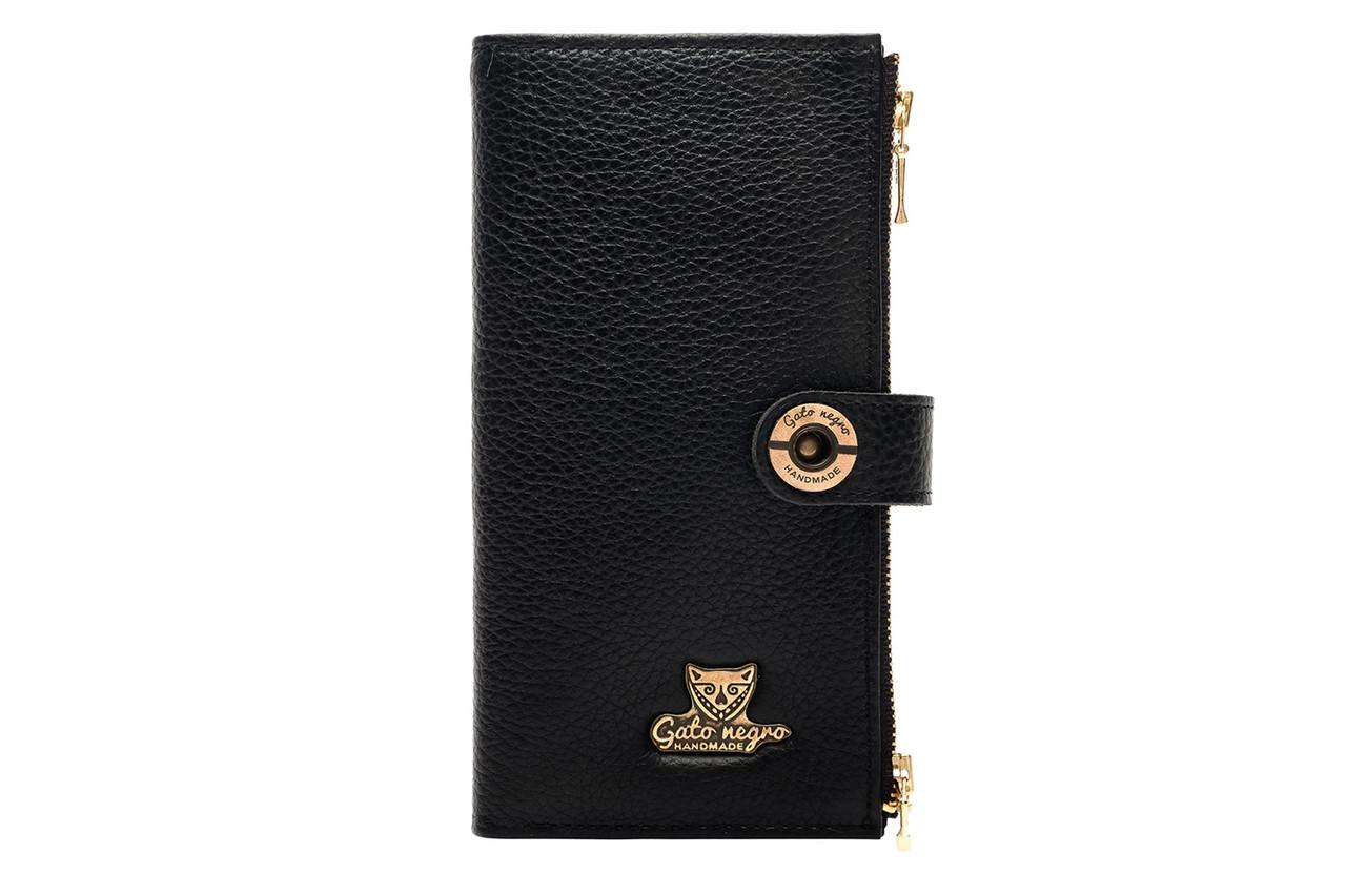 Вместительный кожаный женский кошелек черный