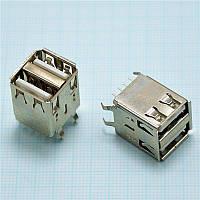 Двойной USB 2.0 разъем мама для пайки на плату, 90 градусов, 8 pin