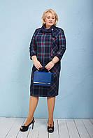 Деловое женское платье с шарфом французский трикотаж р.52-58 клетка  V159-03