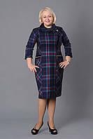 Деловое женское платье с шарфом французский трикотаж р.52-58 клетка  V159-02