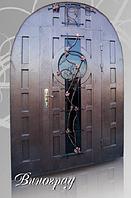 """Двери входные со стеклопакетом и ковкой арочные """"ВИНОГРАД"""""""