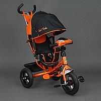 Велосипед 3-х колёсный Best Trike Оранжевый арт. 6588 В (надувные колеса, фара, ключ зажигания)
