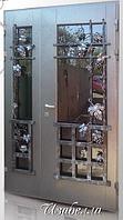 """Двери входные со стеклопакетом и ковкой полуторные """"ИЗАБЕЛЛА"""""""