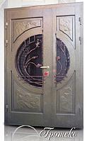 """Двери входные со стеклопакетом и ковкой полуторные """"ГРОТЕСК"""""""