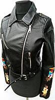 Куртка с вышивкой, из кожзама   999