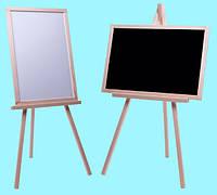 Мольберт детский двухсторонний не магнитный, доска для рисования для маркеров и мела 2в1.