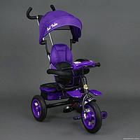 Детский трехколесный велосипед Best Trike 6699 фиолетовый,надувные колёса, поворотное сидение, фара